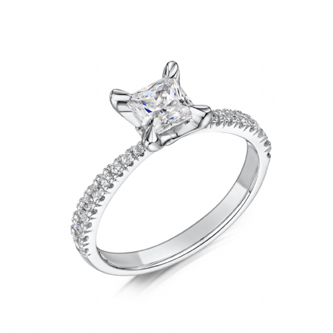0.6 Carat GIA GVS Diamond solitaire 18ct White Gold. Princess cut Engagement Ring, MWSS-1194/040